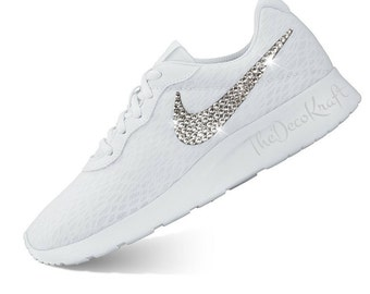 05b9e40ac420 Custom Bling Womens Nike Tanjun White