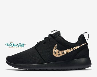on sale 1fb18 2c673 Womens Nike Roshe One Black with Leopard Crystal Swoosh Swarovski Crystal  Bling Sneakers, Running Shoes, Tennis Shoes, Nikes