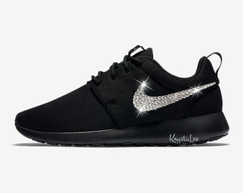 Custom Bling Womens Nike Roshe One Black Swarovski Crystal Bling Sneakers d830eb72d5