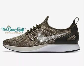 Womens Nike Air Zoom Mariah Flyknit Racer Sea White Summit White Pure  Platinum Swarovski Crystal Bling Sneakers ad39b4fc1060