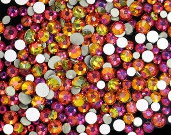 b05305b43 SS12/3mm Red Rainbow Glass Round Flat Back Loose Rhinestones - 1440pcs
