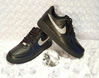 Custom Bling Womens Nike Air Force 1 07 Black Swarovski Crystal Bling  Sneakers efced05706