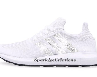 e8a216666af55 ... promo code for ready to ship custom bling womens adidas swift run white swarovski  crystal bling