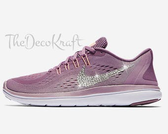 Womens Bling Nike Flex Run 2017 Violet Plum Lilac White Custom Crystal  Swarovski Sneakers 5b0f77538
