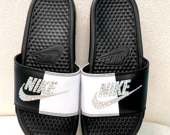 4e7ce1e80a56aa Nike Benassi Slides Sandals White Black White Pure Platinum Custom Bling  Clear Crystal Swarovski Flip Flops