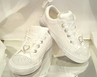 1f911fc8e9fb10 Custom Kids Flower Girl White Wedding Converse Sneakers Swarovski Crystal  Rhinestone Flat Shoes