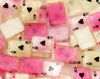 10 Piece Glitter Aces Pink White Playing Cards Cabochons - Kawaii Decoden Flatback Resin (TDK-C1621)