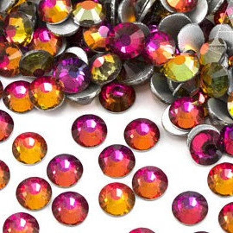 1440pcs SS123mm Red Rainbow Crystal Glass Round Flat Back Loose Rhinestones
