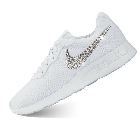 183e8fd7b8f85 Custom Bling Womens Nike Tanjun White, White Swarovski Crystal Bling  Sneakers, Running Shoes, Tennis Shoes, Nikes