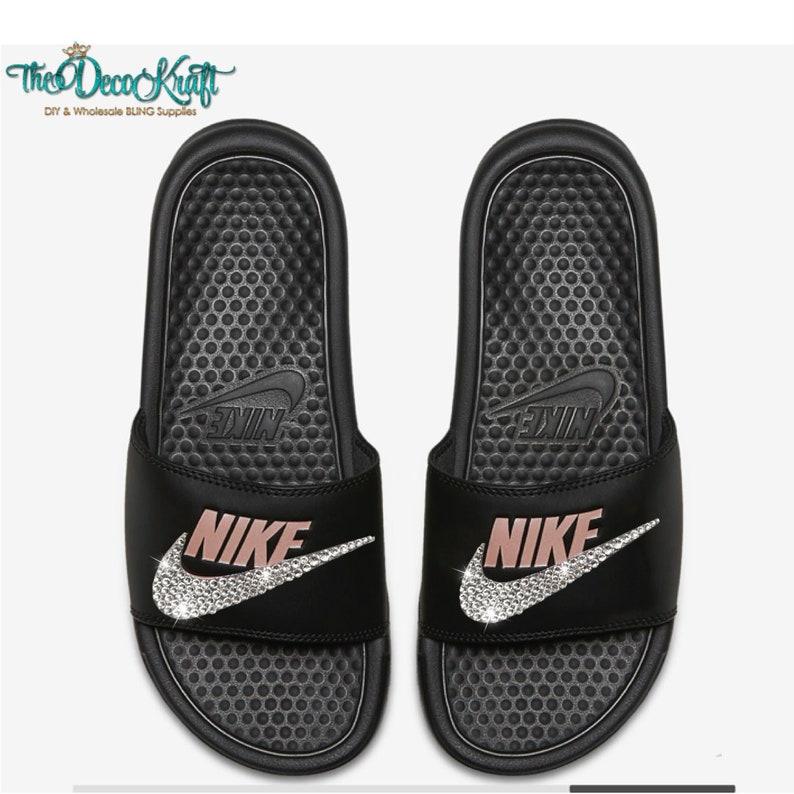 3e70dd3b1e736e Nike Benassi Slides Sandals Black Rose Gold Custom Bling Clear
