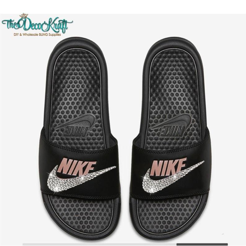 22c7629dd5c8c Nike Benassi Slides Sandals Black Rose Gold Custom Bling Clear