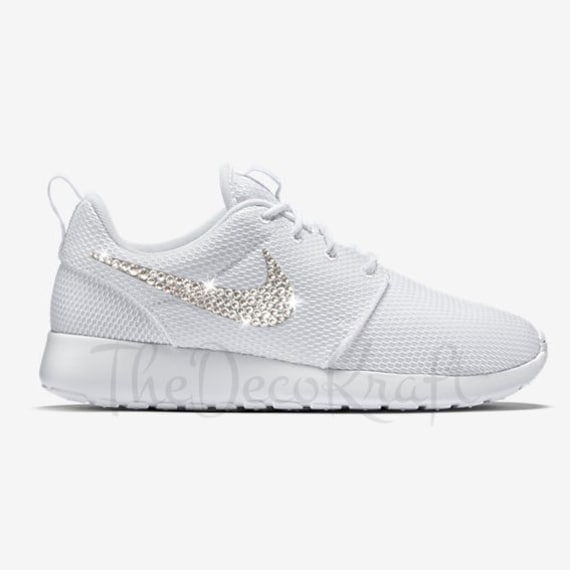Custom Bling Womens Nike Roshe One White Swarovski Crystal  f4c386f3f