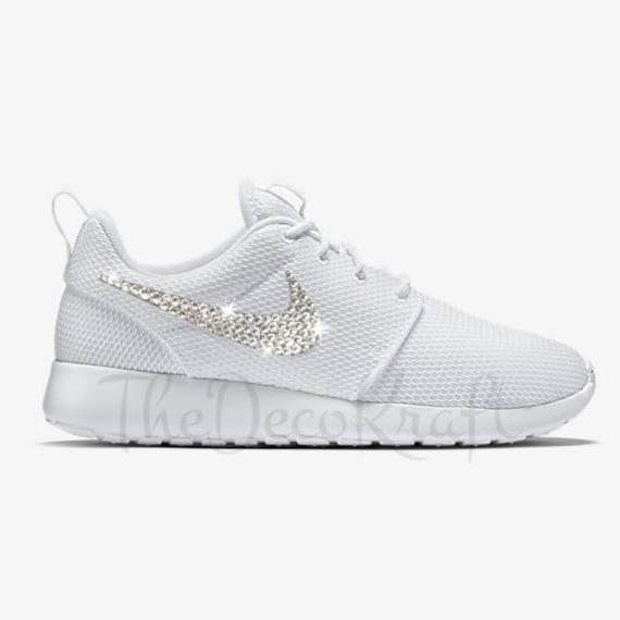 Custom Bling Womens Nike Roshe One White Swarovski Crystal  f48258eb7