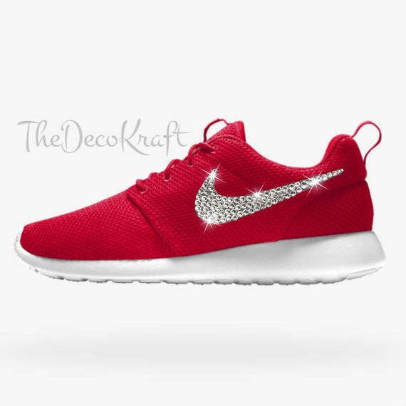 Custom Bling Womens Nike Roshe One Essential iD Red Swarovski Crystal Bling  Sneakers 48434e10f0