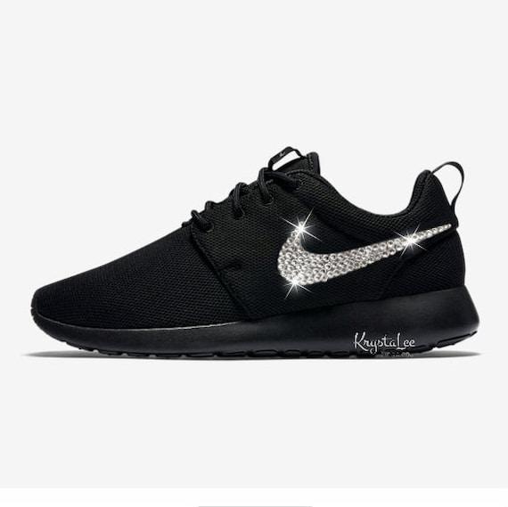 Custom Bling Womens Nike Roshe One Black Swarovski Crystal  8e133db12