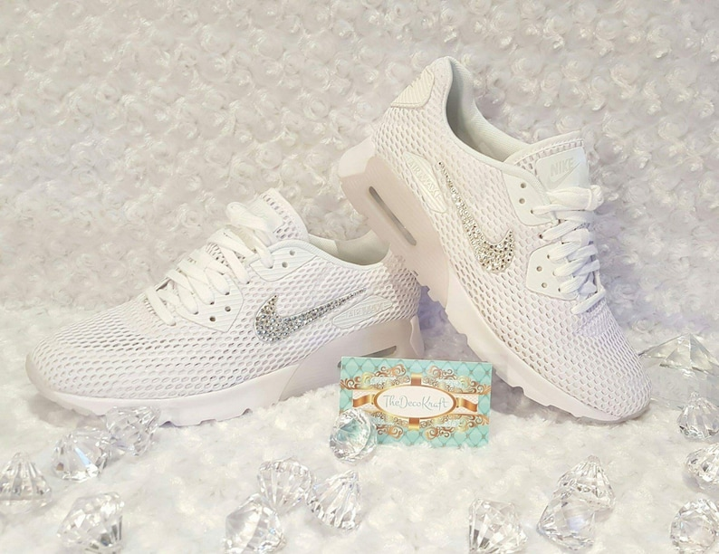 Womens Nike Air Max 90 Ultra White Custom Bling Crystal  e5ee4069b3b