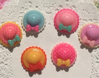 10 Pieces Mixed Hat with Bow Cabochons - Kawaii Decoden Flatback Resin (TDK-C1298)