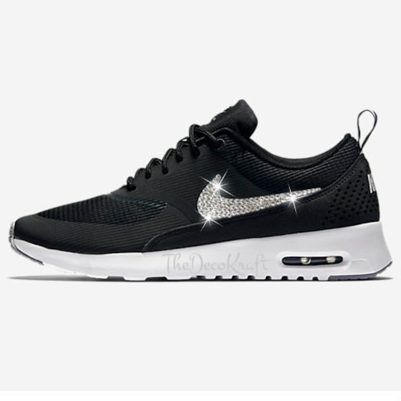Womens Nike Air Max Thea Black Custom Bling Crystal Swarovski  c2a3743a64b1