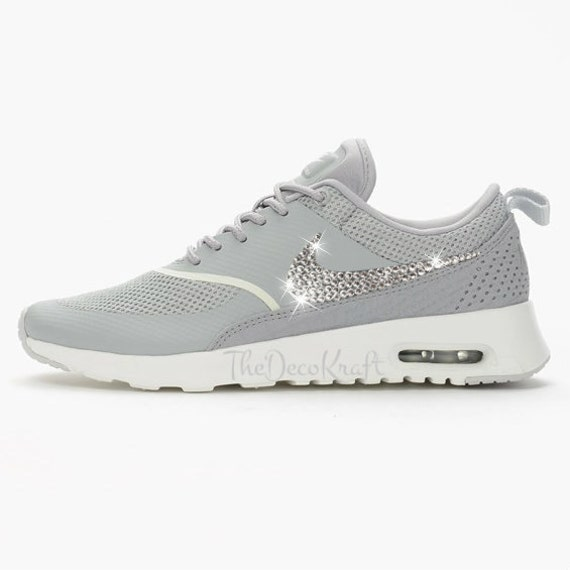 Womens Nike Air Max Thea Matte Silver Grey Custom Bling Crystal Swarovski  Sneakers 2ef2beca7