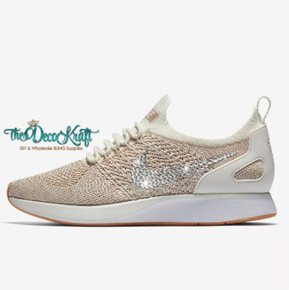 9cfbbbe635f3 Womens Nike Air Zoom Mariah Flyknit Racer Sail Sand Gum Yellow White  Swarovski Crystal Bling Sneakers