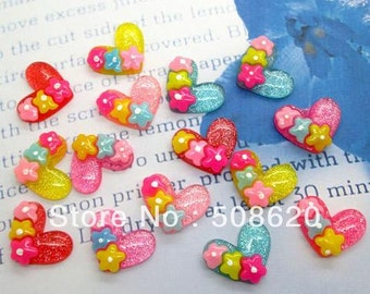 10 Piece Brightly Colored Glitter Hearts with Three Flowers - Kawaii Decoden Flatback Resin (TDK-C1119)