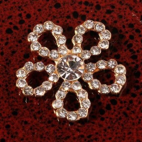 10x Rhinestone Flower Flatback Button for Wedding//Party//Dress accessory Gold