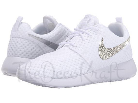 Custom Bling Womens Nike Roshe One White Swarovski Crystal  573d8975a