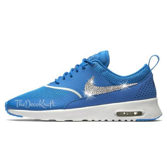 Womens Nike Air Max Thea Blue Spark Custom Bling Crystal Swarovski  Sneakers 52370278b
