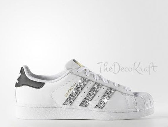 89cbe89efe55 Custom Bling Womens Adidas Originals Superstar White Black