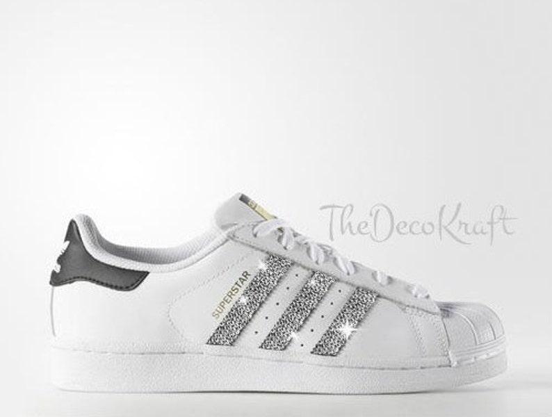 a8e406c446d3 Custom Bling Womens Adidas Originals Superstar White Black