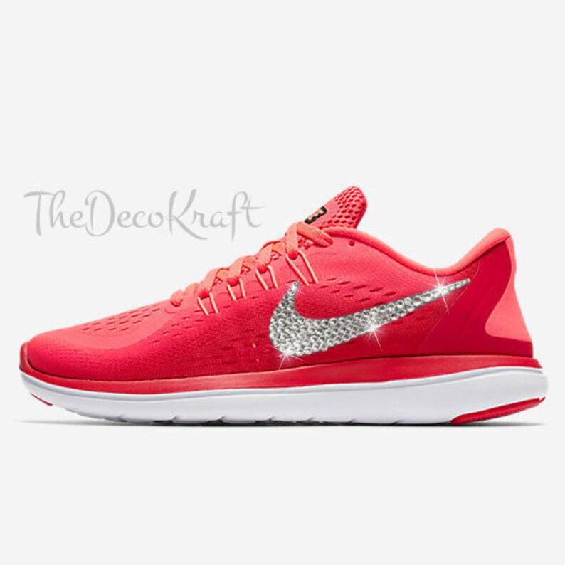 30cf869b5635 Womens Bling Nike Flex Run 2017 Red Mango Black Custom Crystal