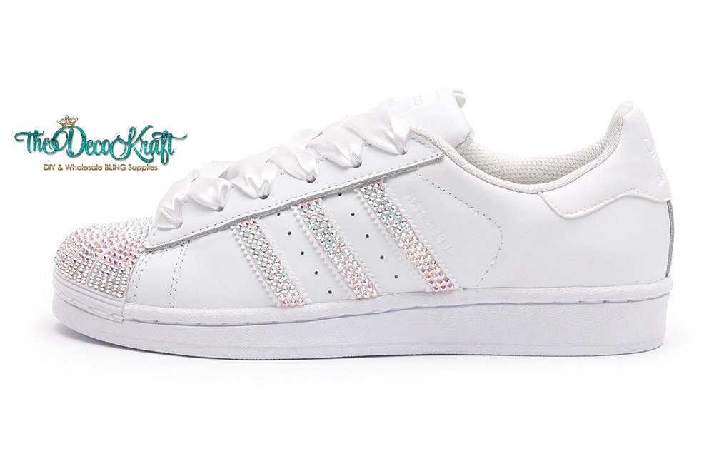 226d45a7d0e6 Custom Bling Womens Adidas Originals Superstar White Swarovski
