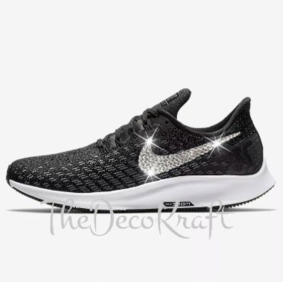 3b3de93d47f2 Womens Nike Air Zoom Pegasus 35 Black White Grey Custom