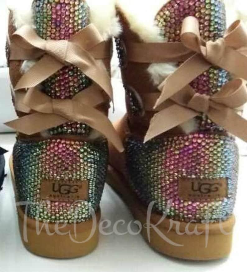 e32600e55 Bling Ugg Bailey Bow Women's Custom Chestnut Ugg Boots   Etsy