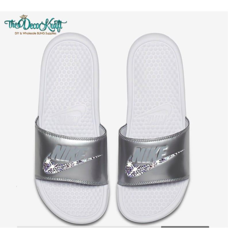 f913dd5d4229a Nike Benassi Slides Sandals White Metallic Silver Wolf Grey