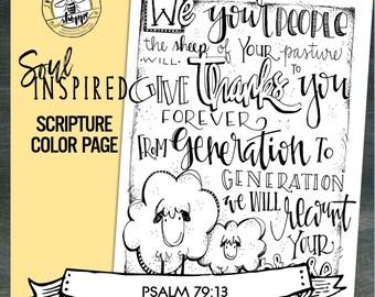 "Soul Inspired - Scripture Color Page/Print ""Psalm 79:13"", thanks - digital download"