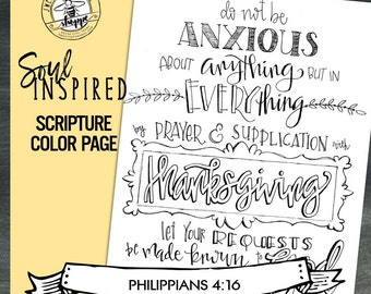 """Soul Inspired - Scripture Color Page/Print """"Philippians 4:16"""", thanks - digital download"""