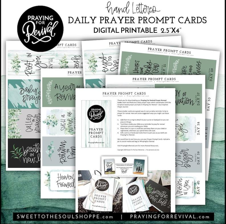 Praying For Revival  Hand-lettered Prayer Prompt mini-cards  image 0
