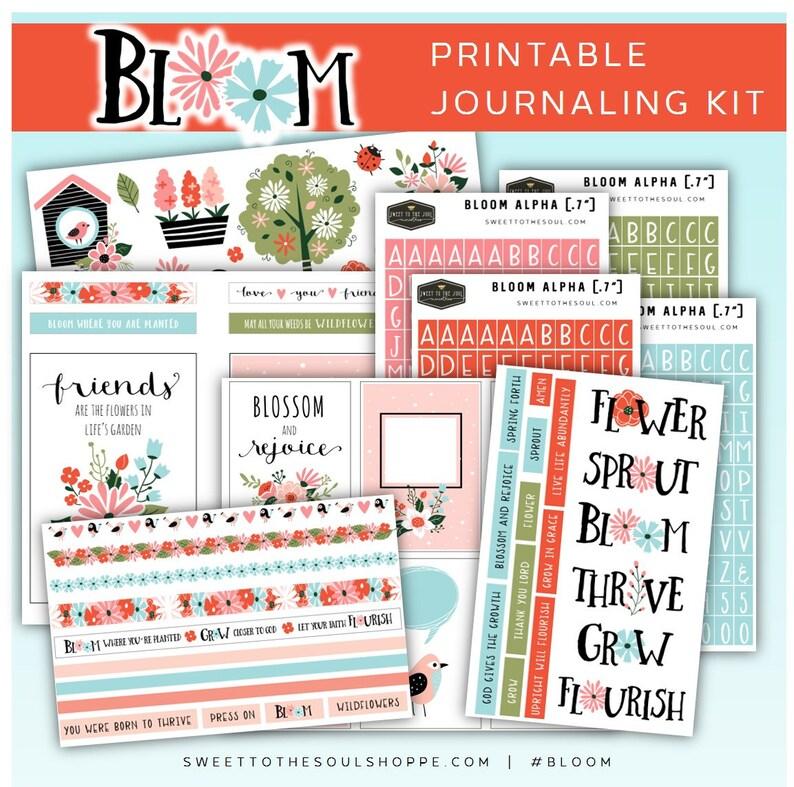 Bloom  Soul Inspired Bible Journaling Printable Kit digital image 0