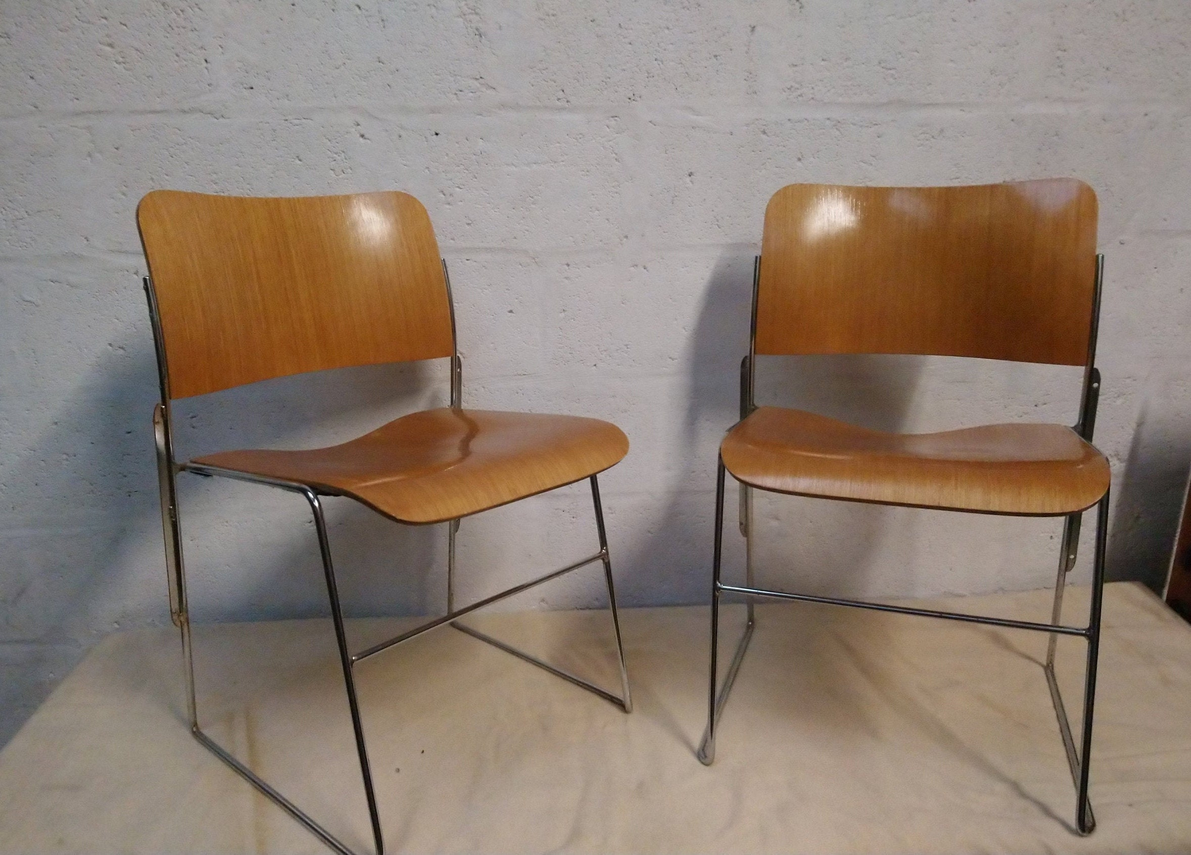 Pair Of Vintage David Rowland Stacking Chair Model 40 4 Gf 1970s Moulded Plywood