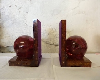 VINTAGE Shattaline Resin Crushed Ice BOOKENDS 1970s Made in Scotland