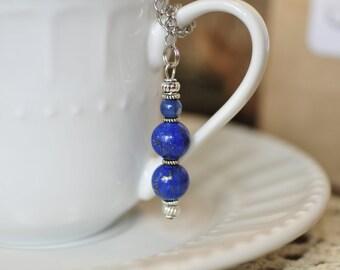 Blue Sodalite Decorative Beaded Mesh Tea Ball Infuser <TB024>