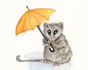 Watercolor Possum Digital print of original Watercolor-Choose from original Watercolor