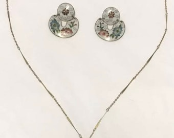 CLOISONNÉ butterly flower earrings and necklace