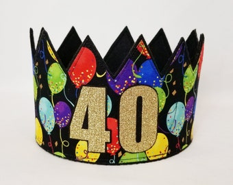 40th Birthday Crown Gold Adult Party Hat Crowns