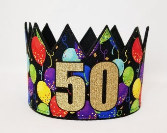 50th Birthday Hat Crown Adult Gold Party Crowns