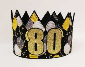 80th Birthday Crown Hat Gold Party Adult Crowns
