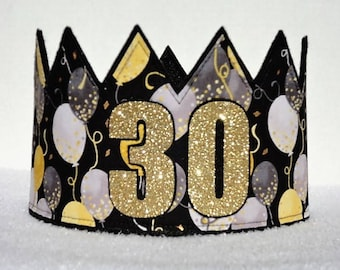 30th Birthday Crown Hat Gold Party Adult Crowns