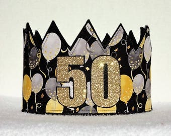 50th Birthday Crown Hat Gold Party Adult Crowns