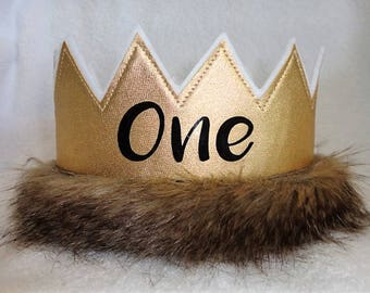 1st Birthday Crown Wild One Birhtday Gold ONE Hat Party Kids Crowns King